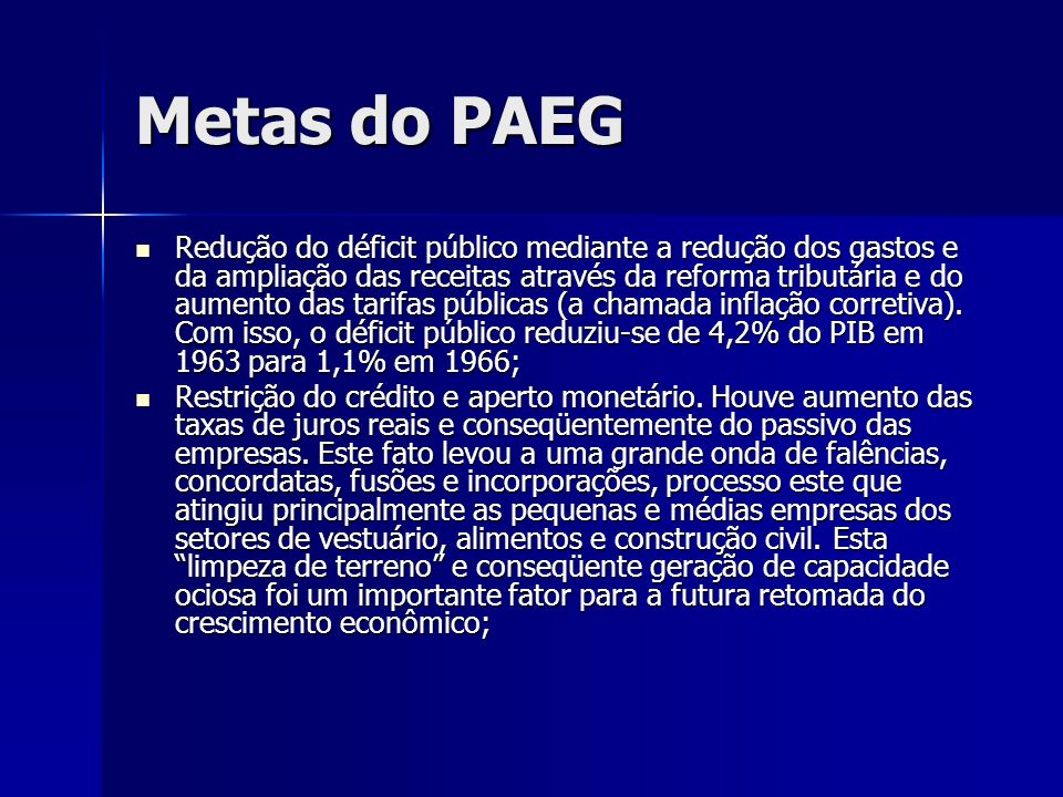 Metas do PAEG