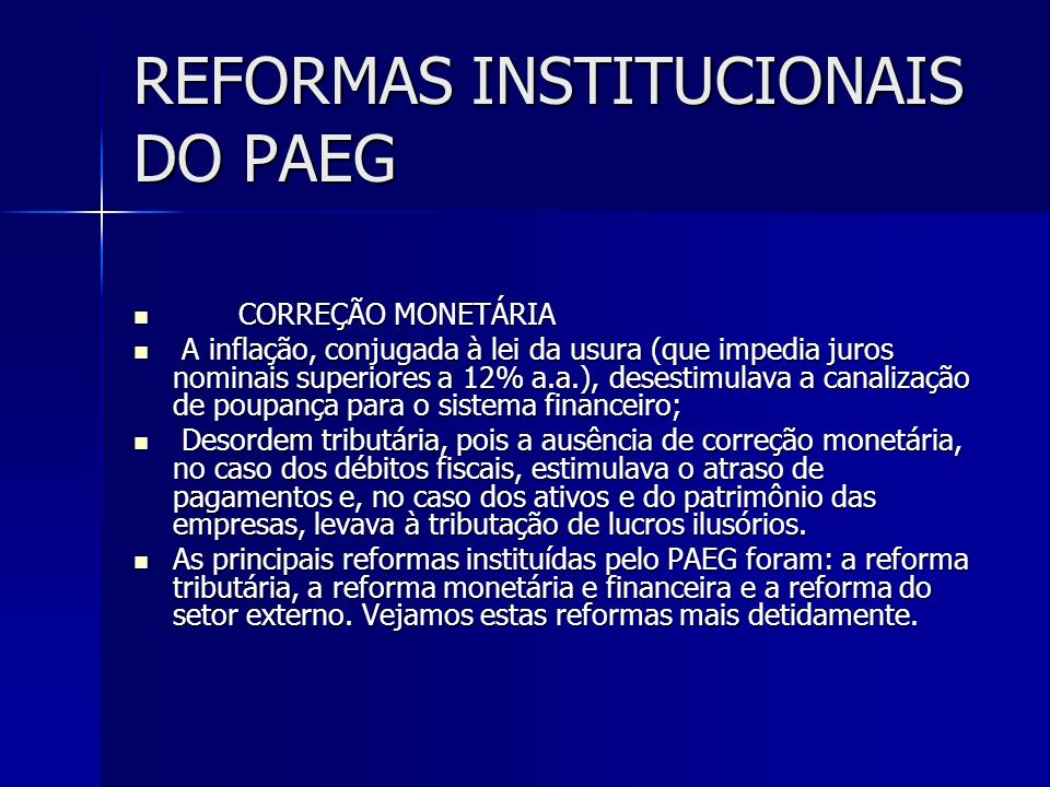REFORMAS INSTITUCIONAIS DO PAEG