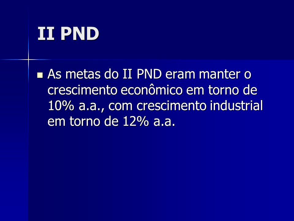 II PND As metas do II PND eram manter o crescimento econômico em torno de 10% a.a., com crescimento industrial em torno de 12% a.a.