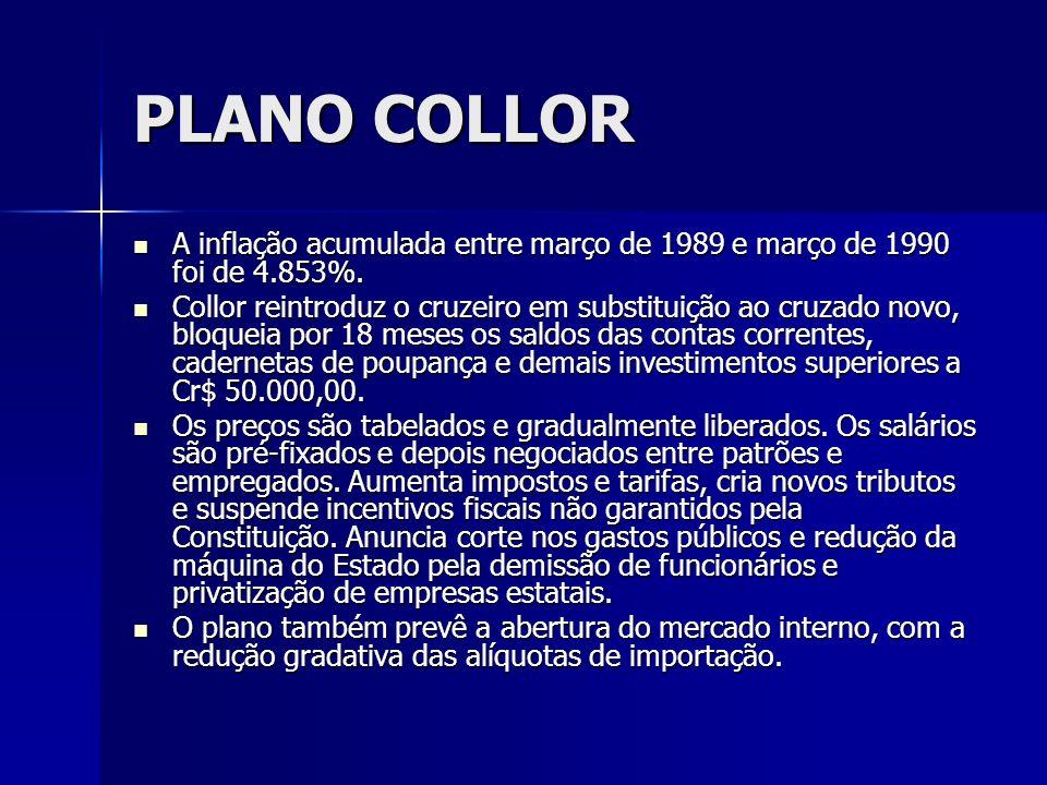 PLANO COLLOR A inflação acumulada entre março de 1989 e março de 1990 foi de 4.853%.