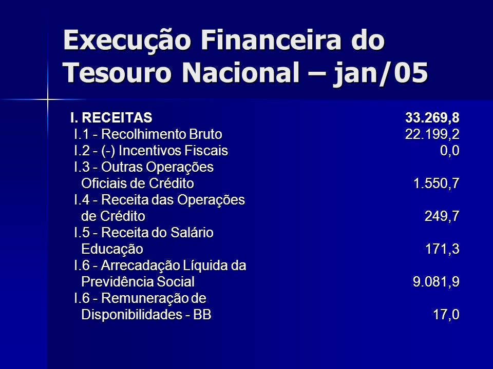 Execução Financeira do Tesouro Nacional – jan/05
