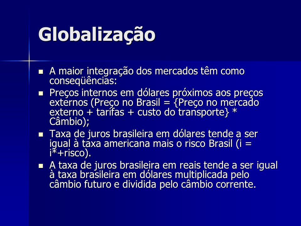 Globalização A maior integração dos mercados têm como conseqüências: