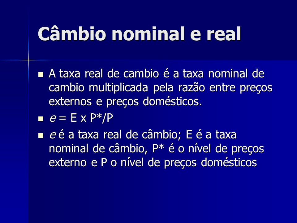 Câmbio nominal e real A taxa real de cambio é a taxa nominal de cambio multiplicada pela razão entre preços externos e preços domésticos.