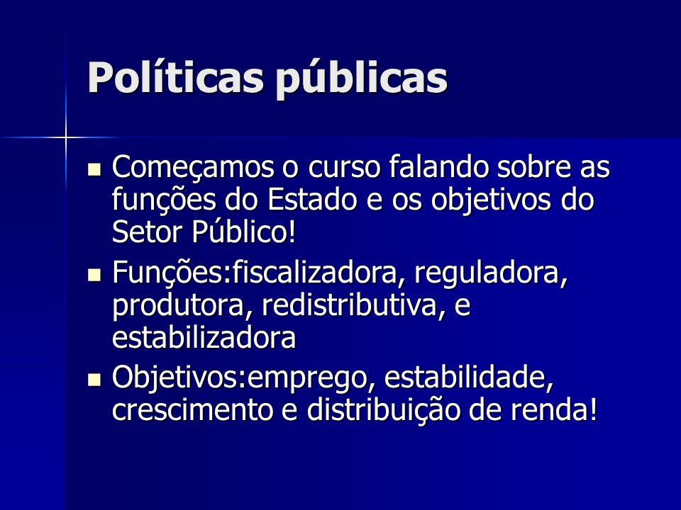 Políticas públicas Começamos o curso falando sobre as funções do Estado e os objetivos do Setor Público!