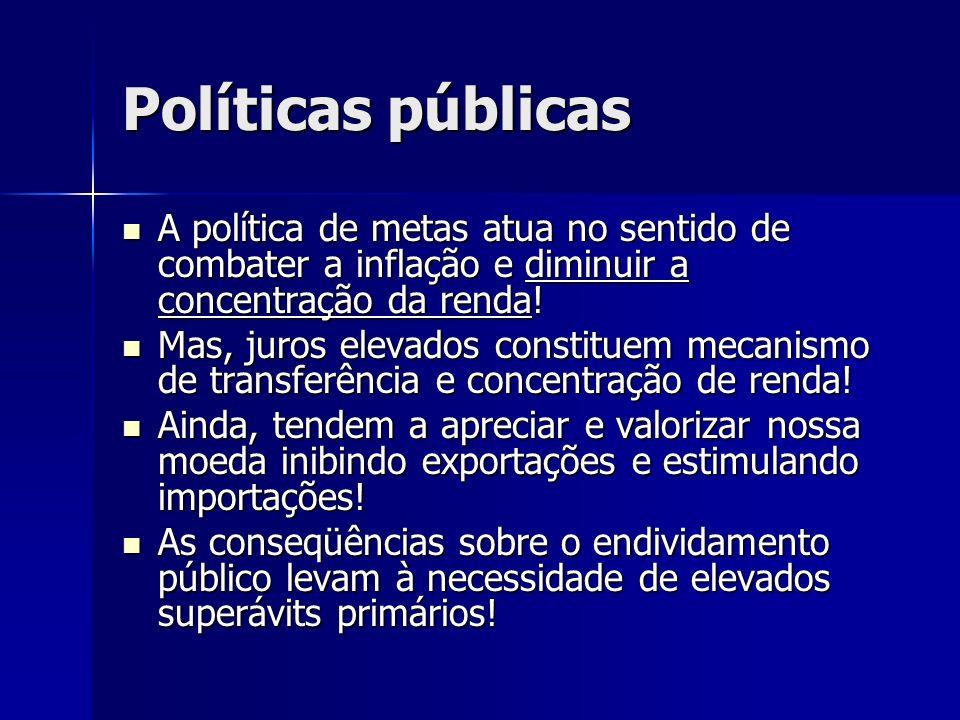 Políticas públicas A política de metas atua no sentido de combater a inflação e diminuir a concentração da renda!