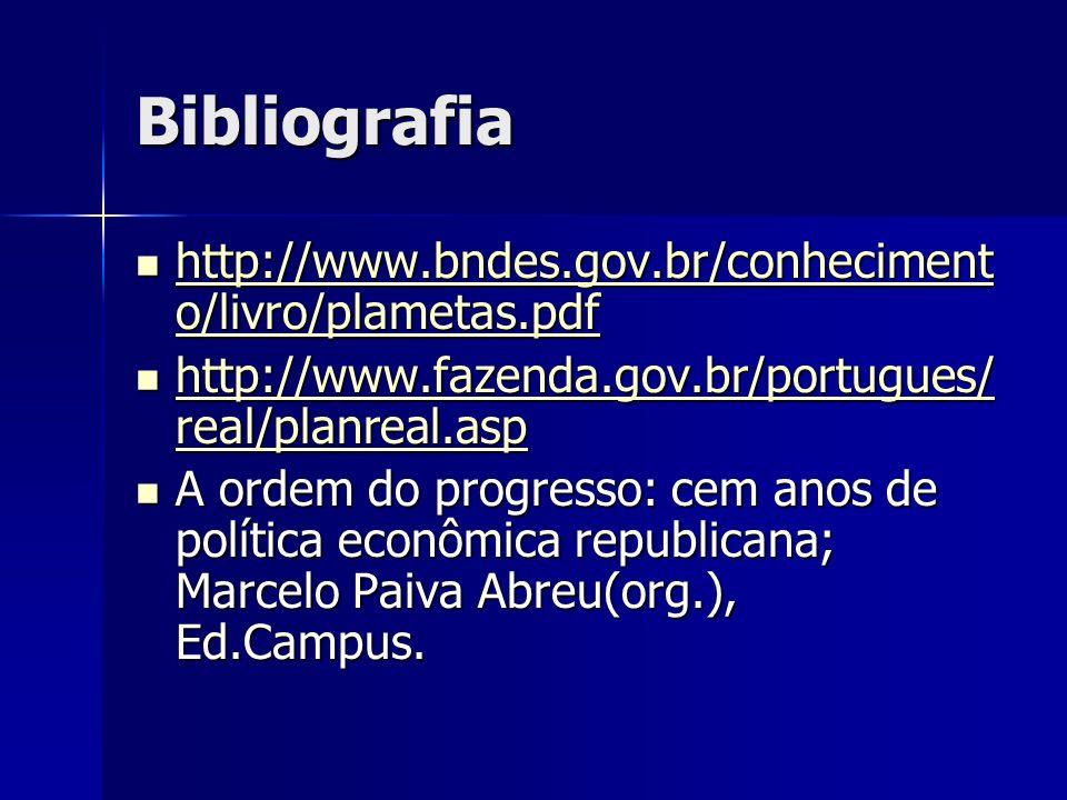 Bibliografia http://www.bndes.gov.br/conhecimento/livro/plametas.pdf