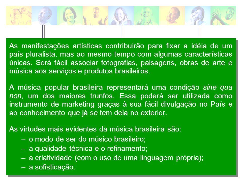 As manifestações artísticas contribuirão para fixar a idéia de um país pluralista, mas ao mesmo tempo com algumas características únicas. Será fácil associar fotografias, paisagens, obras de arte e música aos serviços e produtos brasileiros.