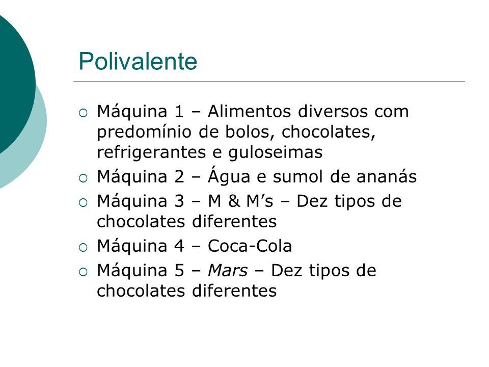 Polivalente Máquina 1 – Alimentos diversos com predomínio de bolos, chocolates, refrigerantes e guloseimas.