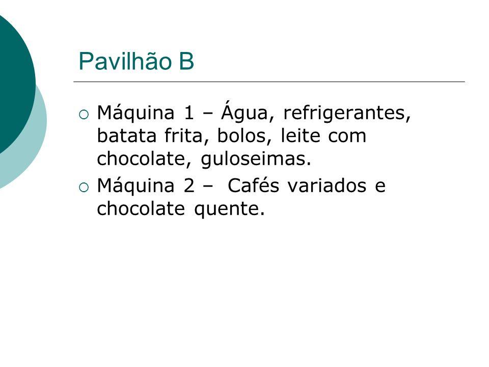 Pavilhão B Máquina 1 – Água, refrigerantes, batata frita, bolos, leite com chocolate, guloseimas.