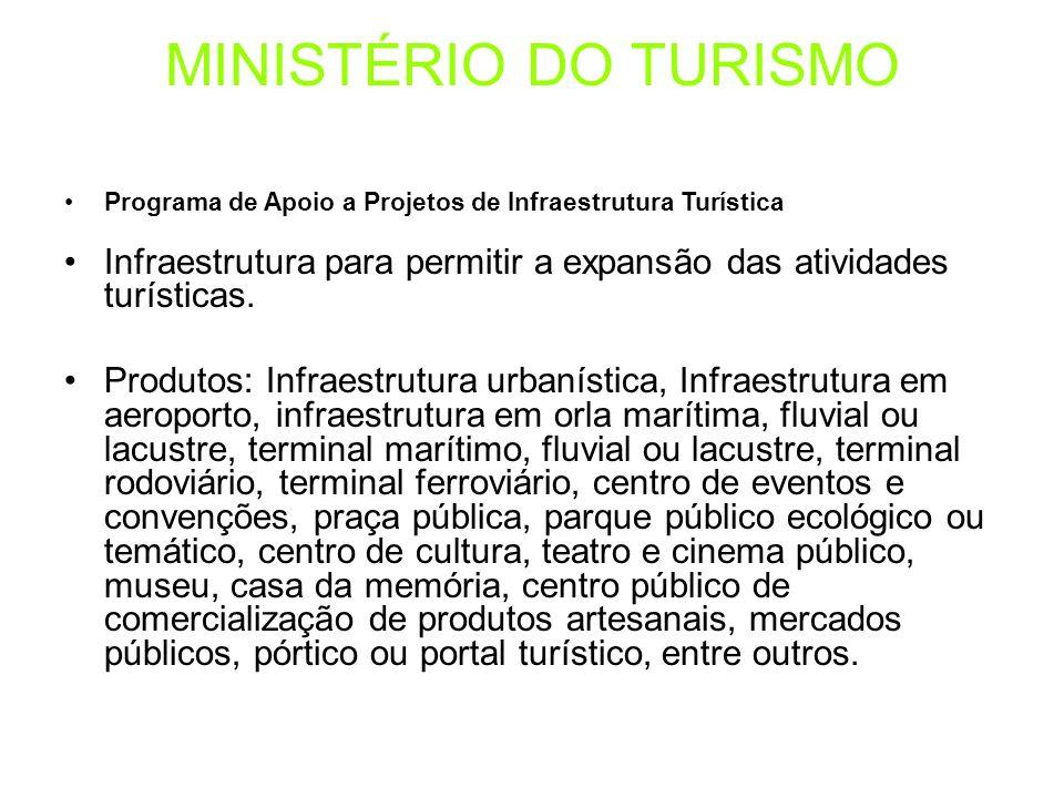 MINISTÉRIO DO TURISMO Programa de Apoio a Projetos de Infraestrutura Turística. Infraestrutura para permitir a expansão das atividades turísticas.