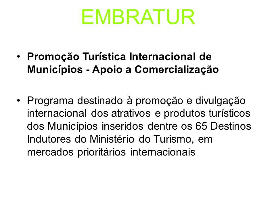 EMBRATUR Promoção Turística Internacional de Municípios - Apoio a Comercialização.