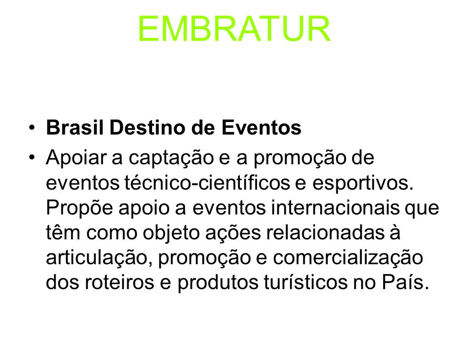 EMBRATUR Brasil Destino de Eventos