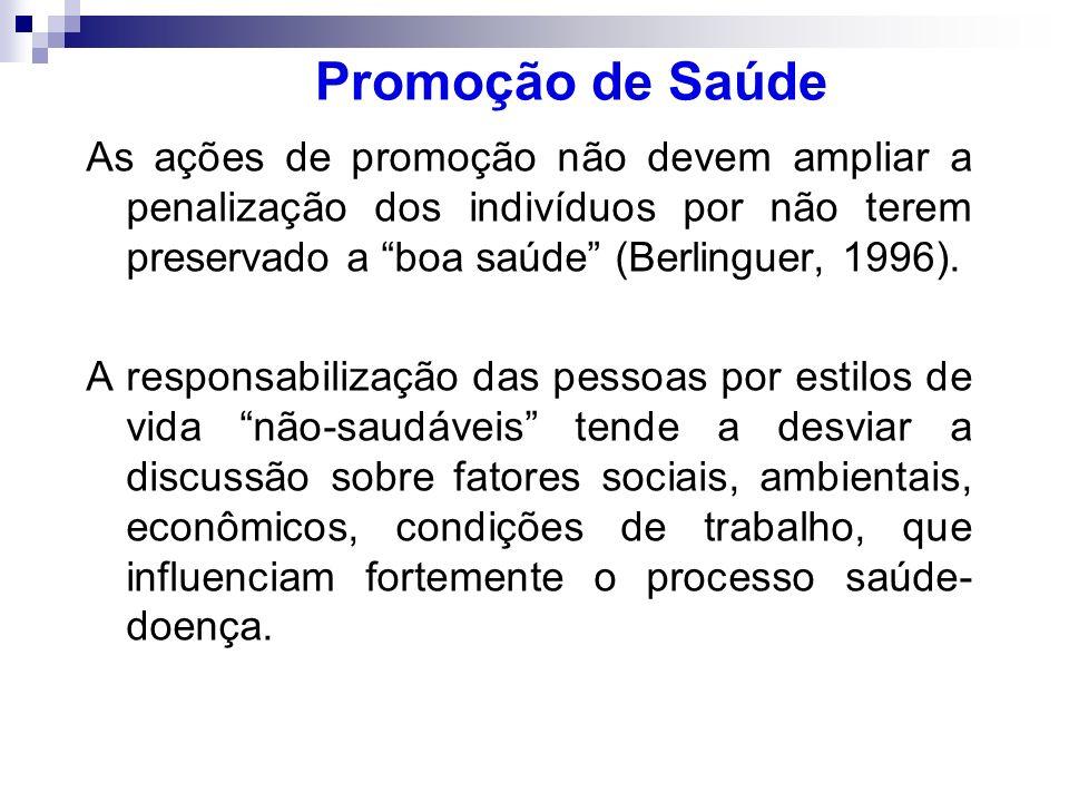 Promoção de Saúde As ações de promoção não devem ampliar a penalização dos indivíduos por não terem preservado a boa saúde (Berlinguer, 1996).