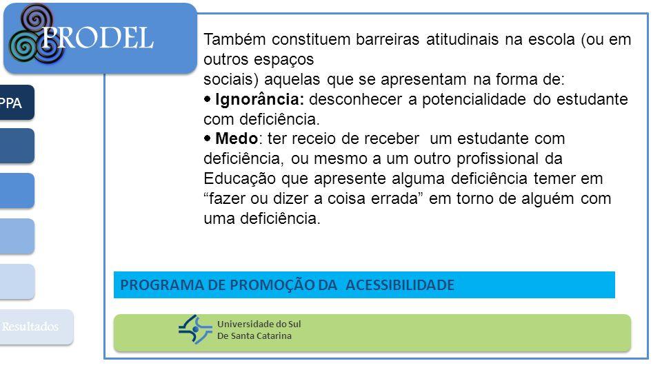 PRODEL Também constituem barreiras atitudinais na escola (ou em outros espaços. sociais) aquelas que se apresentam na forma de: