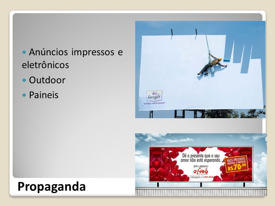 Anúncios impressos e eletrônicos