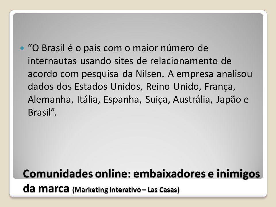O Brasil é o país com o maior número de internautas usando sites de relacionamento de acordo com pesquisa da Nilsen. A empresa analisou dados dos Estados Unidos, Reino Unido, França, Alemanha, Itália, Espanha, Suiça, Austrália, Japão e Brasil .