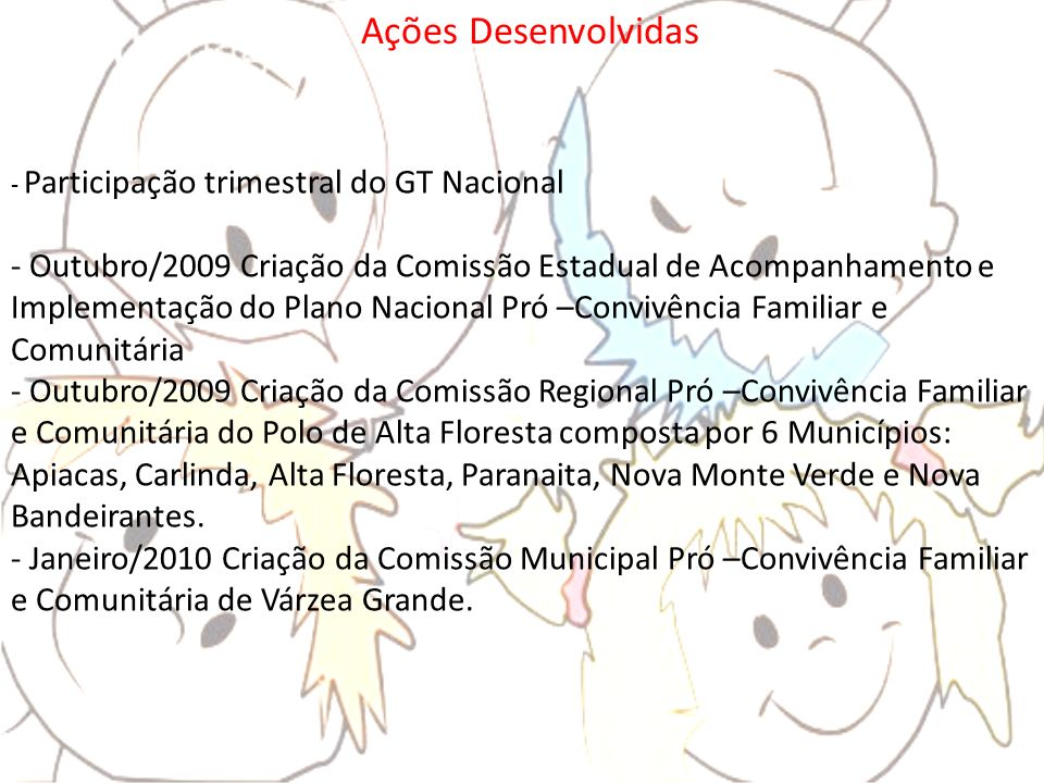 Ações Desenvolvidas Participação trimestral do GT Nacional.