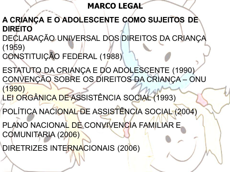 MARCO LEGAL A CRIANÇA E O ADOLESCENTE COMO SUJEITOS DE DIREITO DECLARAÇÃO UNIVERSAL DOS DIREITOS DA CRIANÇA (1959) CONSTITUIÇÃO FEDERAL (1988)