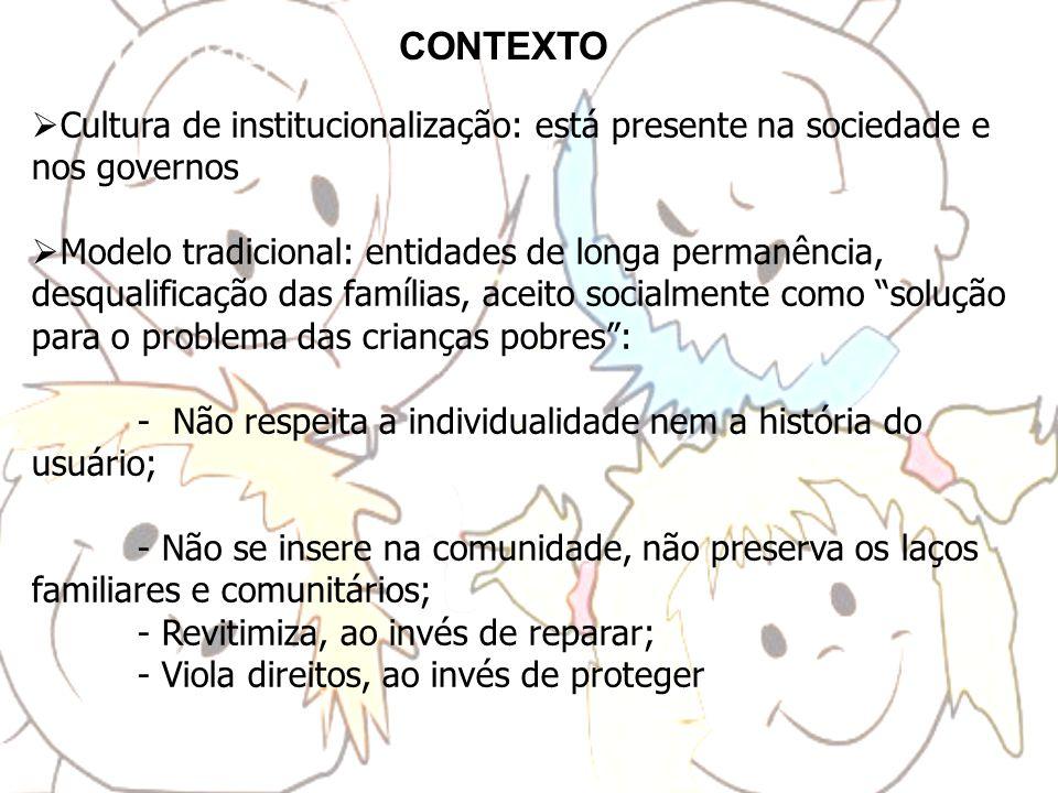 CONTEXTO Cultura de institucionalização: está presente na sociedade e nos governos.