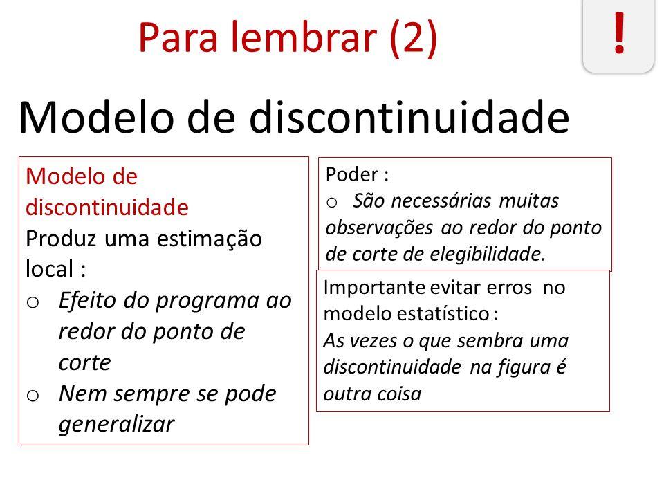! Modelo de discontinuidade Para lembrar (2) Modelo de discontinuidade