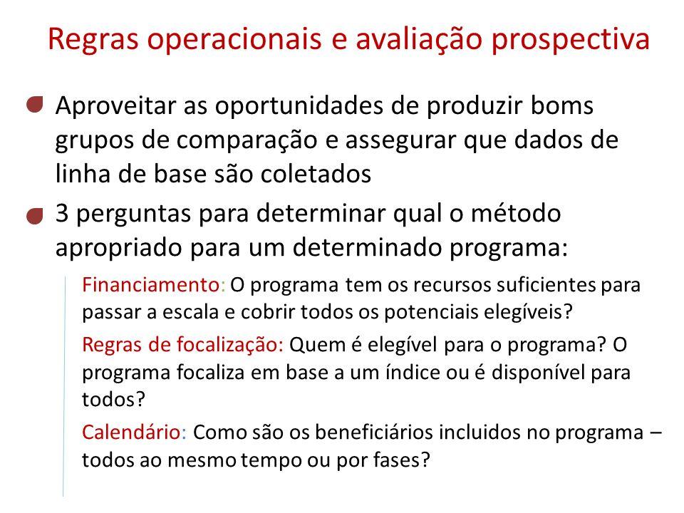 Regras operacionais e avaliação prospectiva