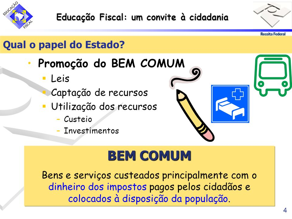 BEM COMUM Promoção do BEM COMUM Qual o papel do Estado Leis