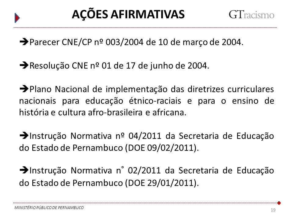 AÇÕES AFIRMATIVAS Parecer CNE/CP nº 003/2004 de 10 de março de 2004.
