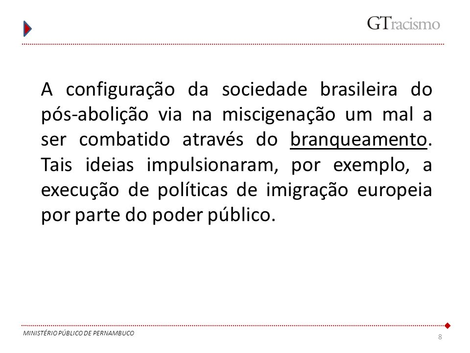 A configuração da sociedade brasileira do pós-abolição via na miscigenação um mal a ser combatido através do branqueamento. Tais ideias impulsionaram, por exemplo, a execução de políticas de imigração europeia por parte do poder público.