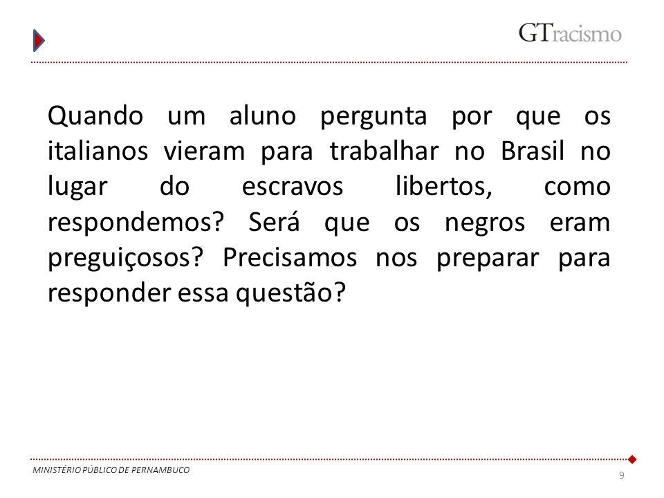 Quando um aluno pergunta por que os italianos vieram para trabalhar no Brasil no lugar do escravos libertos, como respondemos Será que os negros eram preguiçosos Precisamos nos preparar para responder essa questão