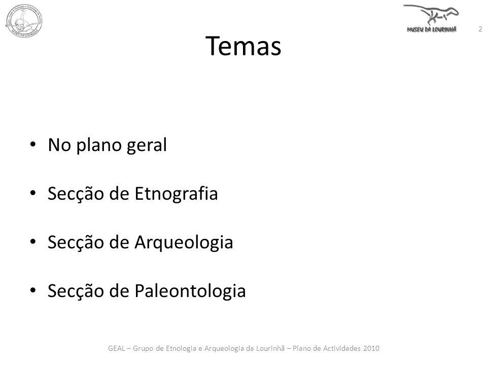 Temas No plano geral Secção de Etnografia Secção de Arqueologia