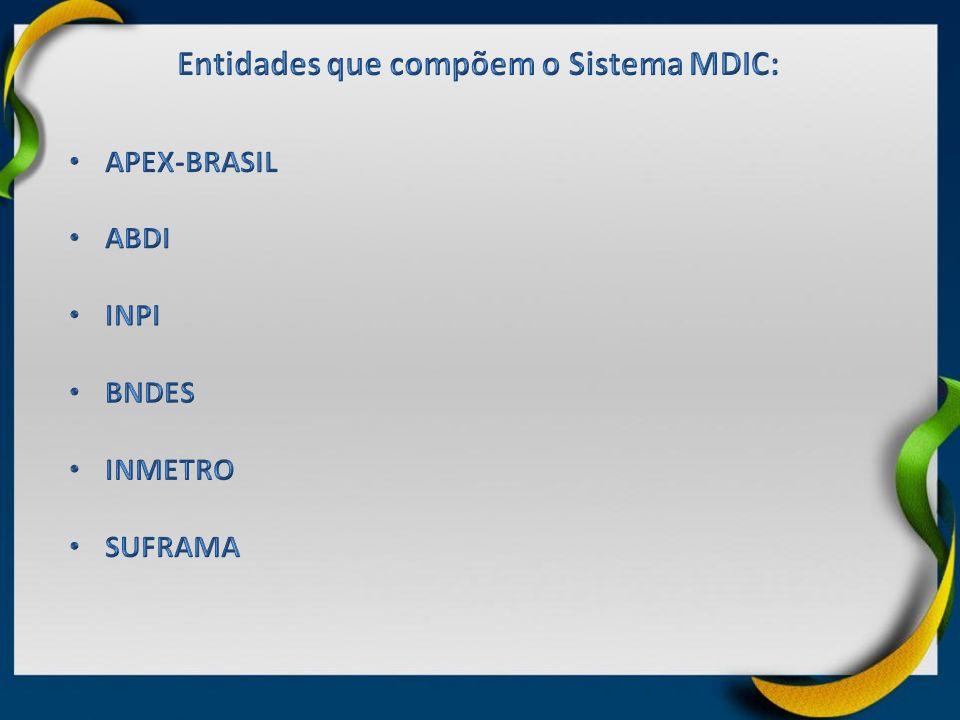 Entidades que compõem o Sistema MDIC: