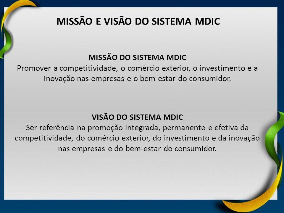 MISSÃO E VISÃO DO SISTEMA MDIC
