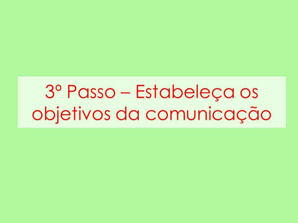 3º Passo – Estabeleça os objetivos da comunicação