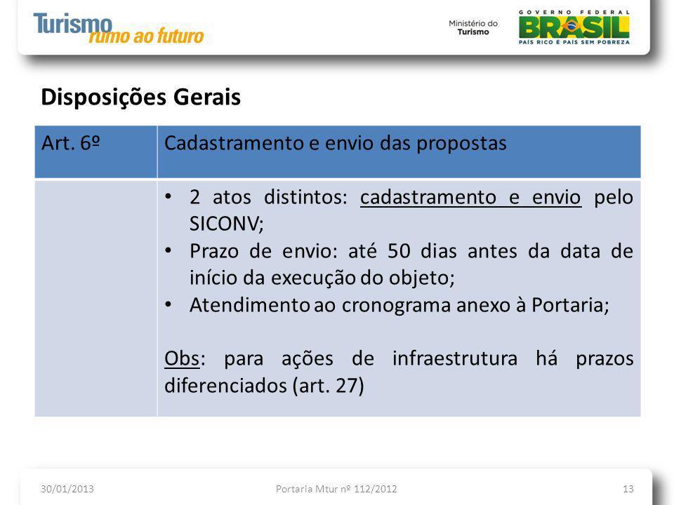 Disposições Gerais Art. 6º Cadastramento e envio das propostas