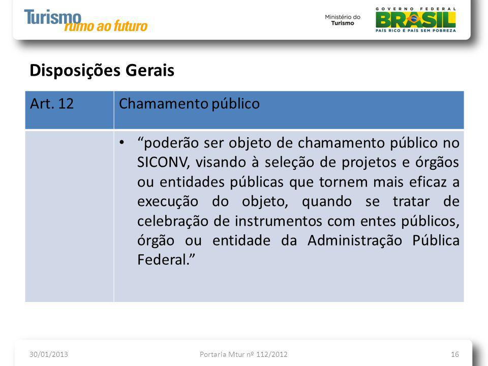 Disposições Gerais Art. 12 Chamamento público