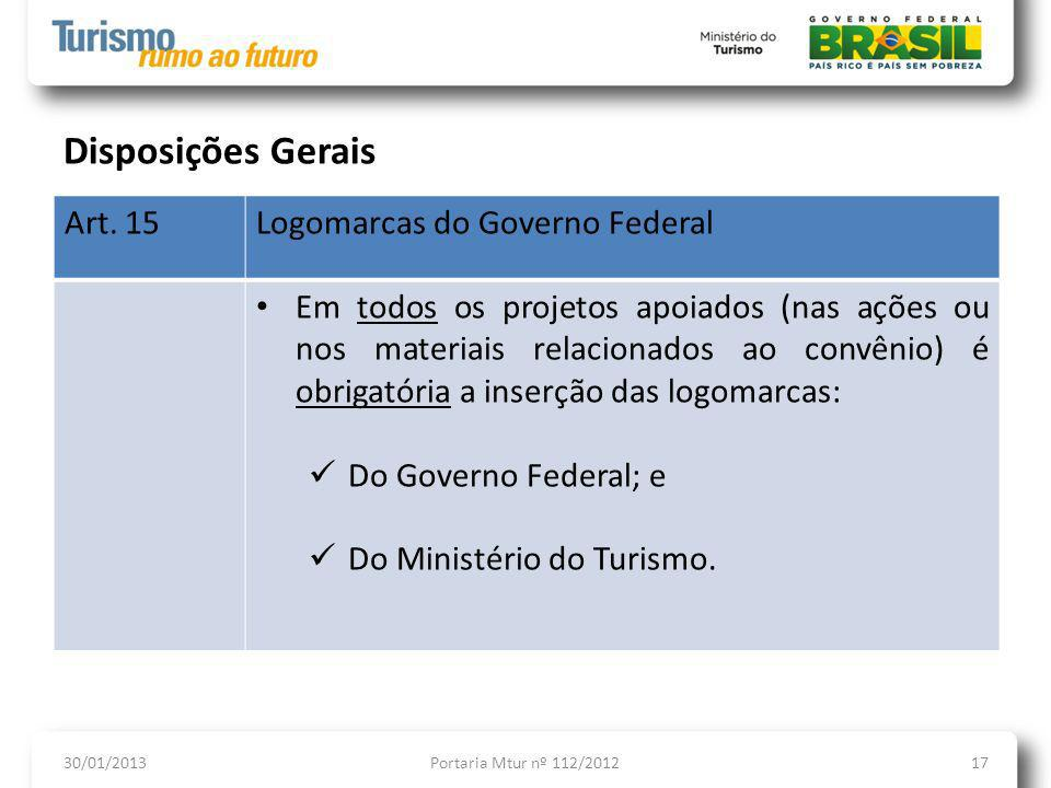 Disposições Gerais Art. 15 Logomarcas do Governo Federal