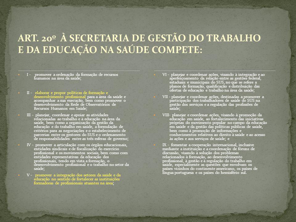 ART. 20o À SECRETARIA DE GESTÃO DO TRABALHO E DA EDUCAÇÃO NA SAÚDE COMPETE: