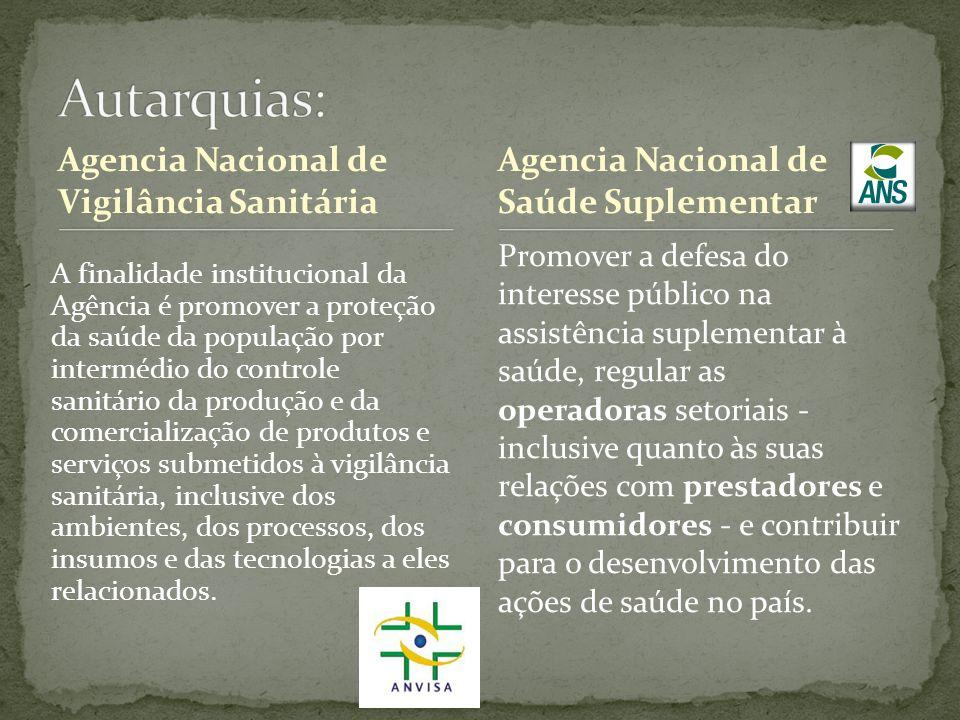 Autarquias: Agencia Nacional de Vigilância Sanitária