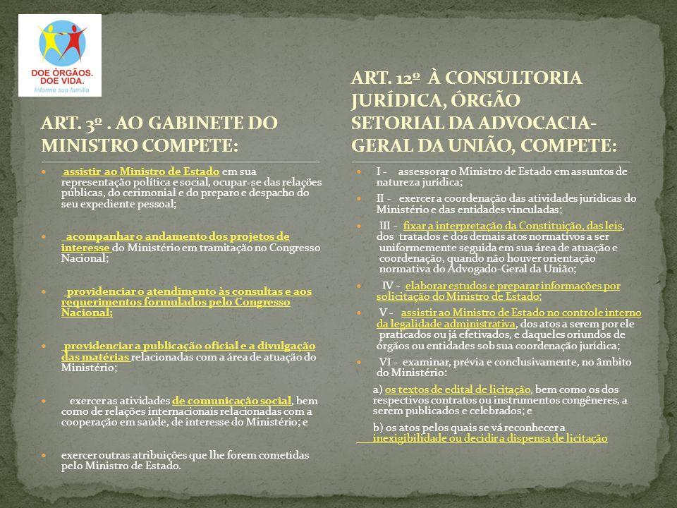 ART. 3o . AO GABINETE DO MINISTRO COMPETE: