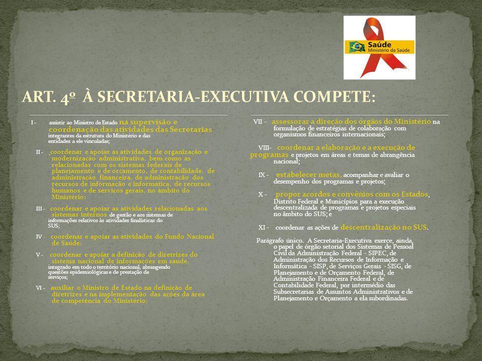 ART. 4o À SECRETARIA-EXECUTIVA COMPETE:
