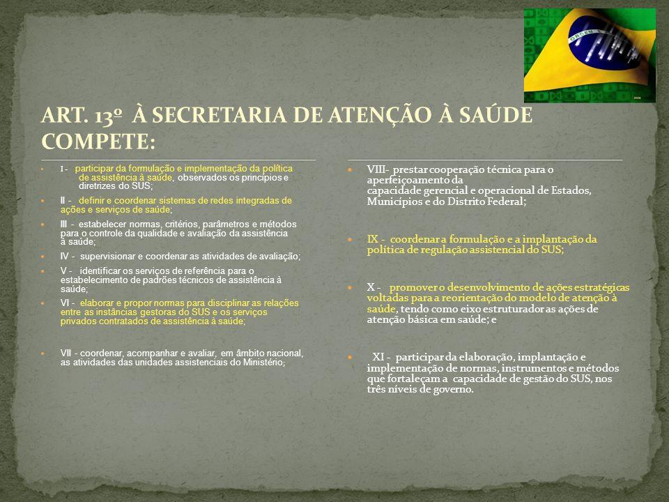 ART. 13o À SECRETARIA DE ATENÇÃO À SAÚDE COMPETE: