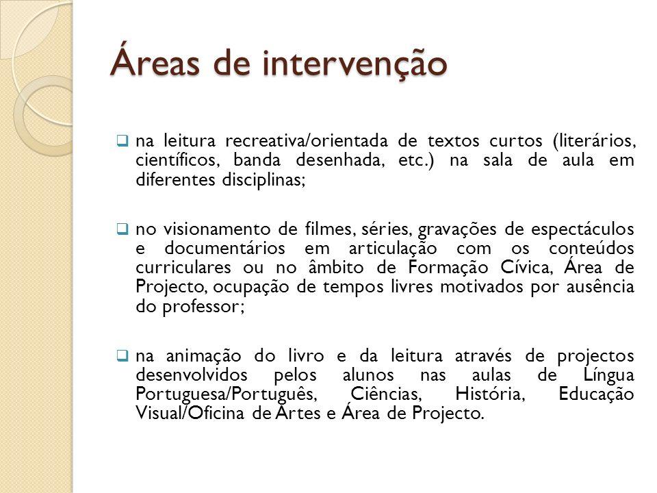 Áreas de intervenção
