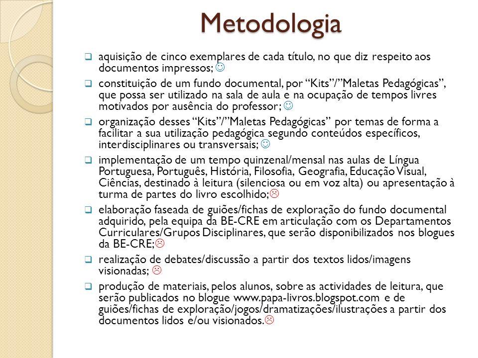 Metodologia aquisição de cinco exemplares de cada título, no que diz respeito aos documentos impressos; 