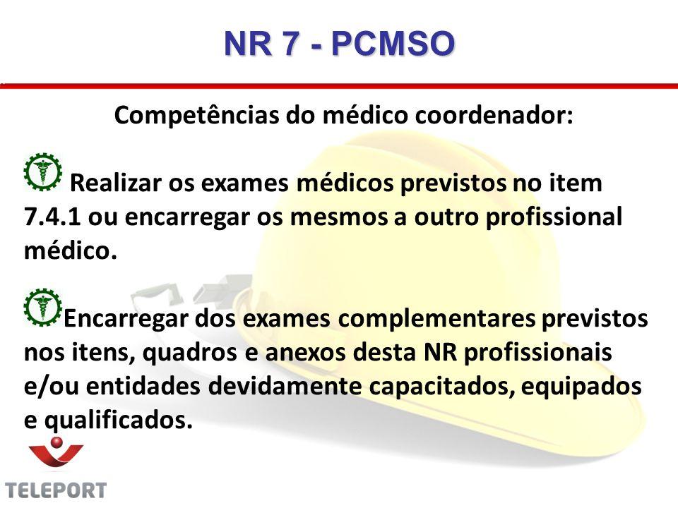Competências do médico coordenador: