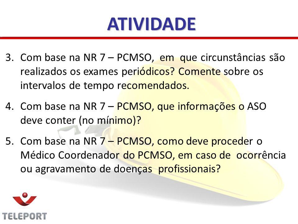 ATIVIDADE Com base na NR 7 – PCMSO, em que circunstâncias são realizados os exames periódicos Comente sobre os intervalos de tempo recomendados.