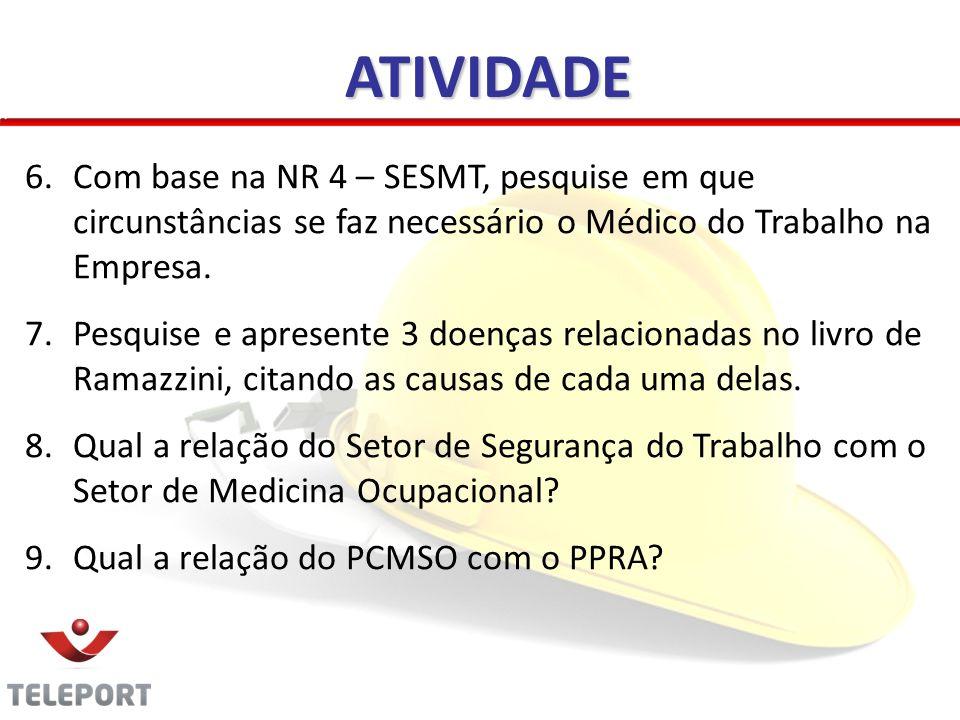 ATIVIDADE Com base na NR 4 – SESMT, pesquise em que circunstâncias se faz necessário o Médico do Trabalho na Empresa.