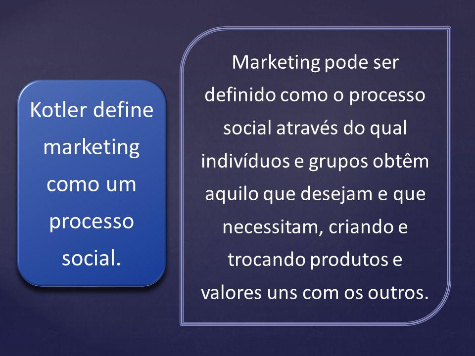 Kotler define marketing como um processo social.