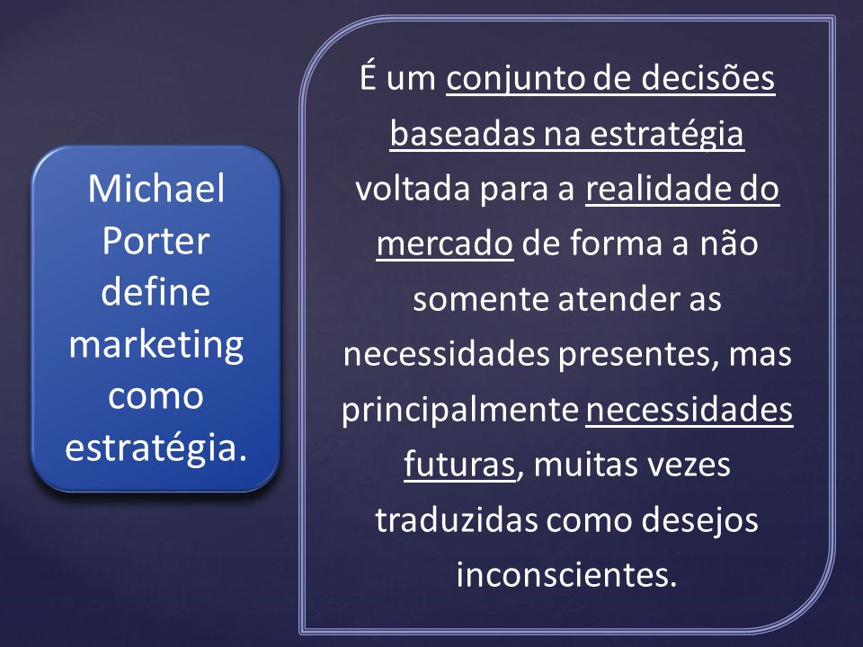 Michael Porter define marketing como estratégia.