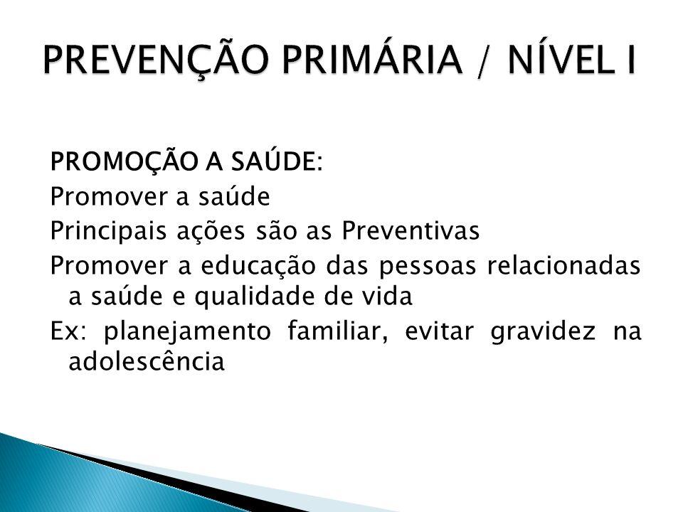 PREVENÇÃO PRIMÁRIA / NÍVEL I