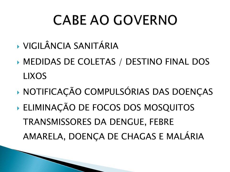 CABE AO GOVERNO VIGILÂNCIA SANITÁRIA